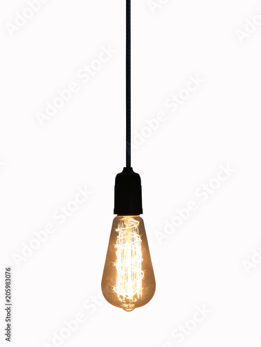 Vintage lamp isolated on white background.