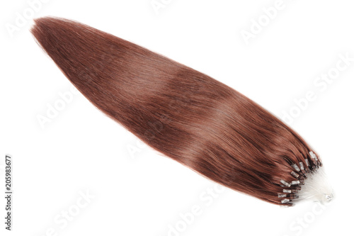 Photo Micro loop ring straight dyed auburn human hair extensions