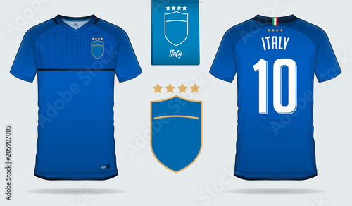b3e954622 06Set of soccer jersey or football kit template design for Italy national  football team. Front