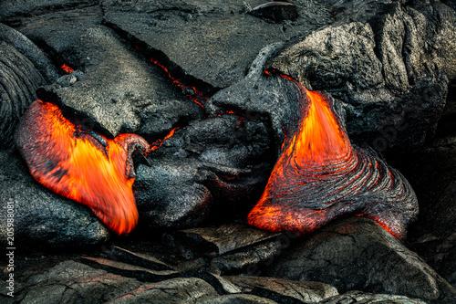 Spoed Fotobehang Vulkaan Hot lava on the Big Island of Hawaii