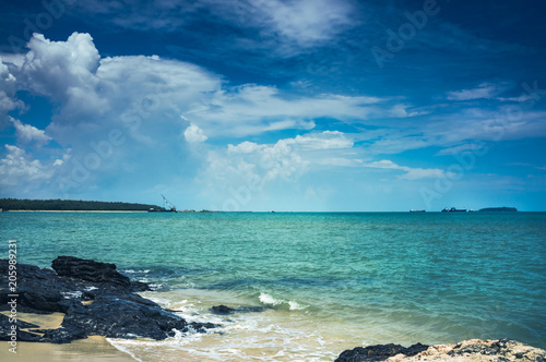 Landscape of blue sky with clouds over sea. Vacation background.