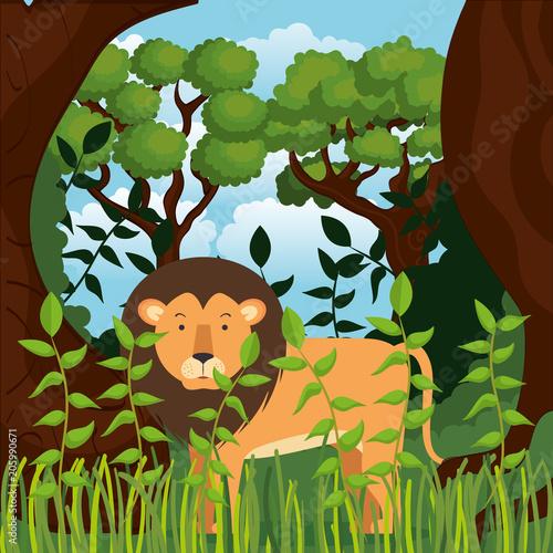 wild in the jungle scene vector illustration design #205990671