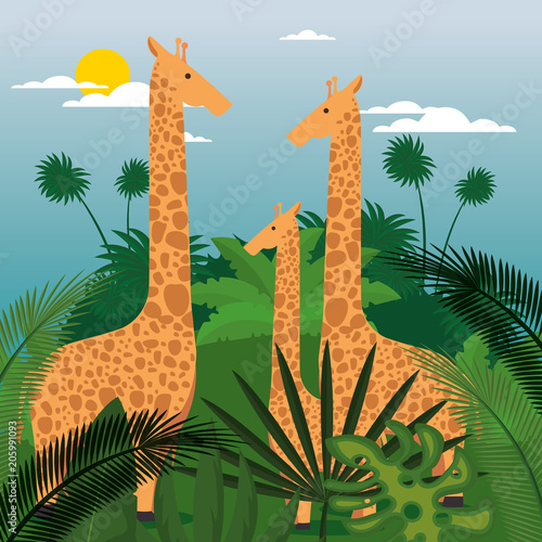 wild animals in the jungle scene vector illustration design