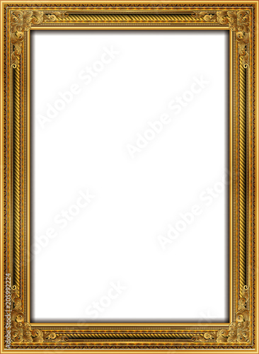 Foto  Gold photo frame with corner Thailand line floral for picture