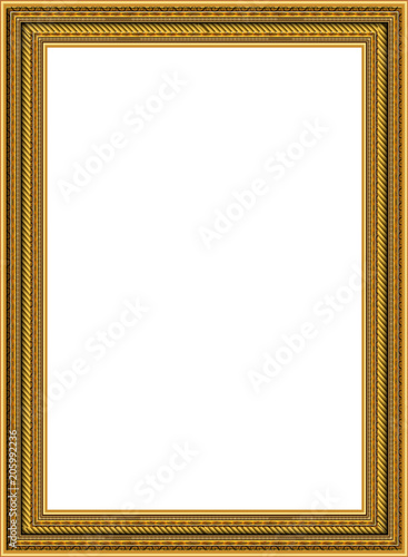 Fotografia  Gold photo frame with corner Thailand line floral for picture