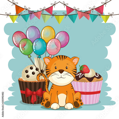 Aluminium Prints Cats happy birthday card with cute tiger vector illustration design