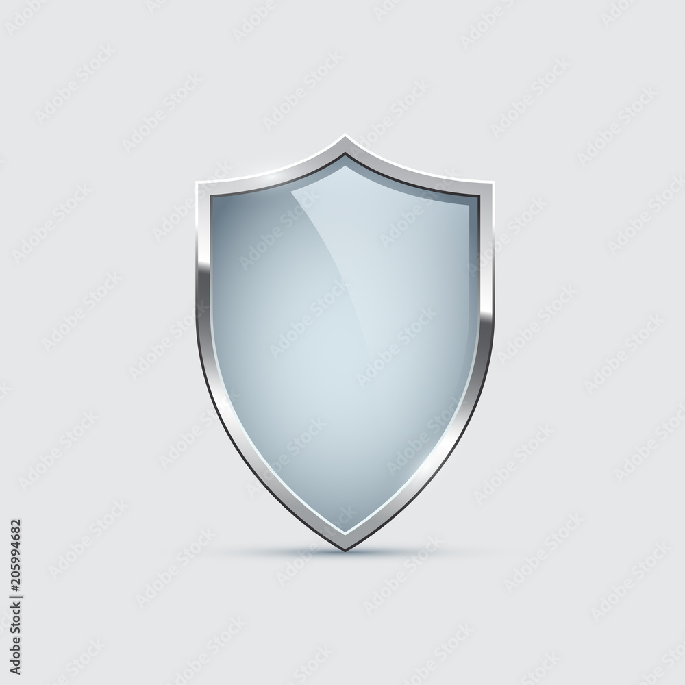 Fototapeta Glass shield with silver frame isolated on gray background. Vector design element.