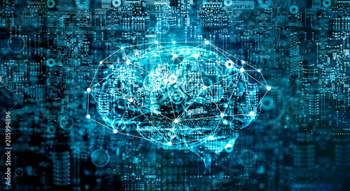 Artificial Intelligence digital Brain future technology on motherboard computer Wallpaper Mural