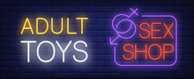 Adult Toys In Sex Shop Neon Sign