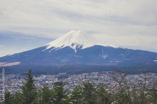Photo  Magnifique vue sur le Mont Fuji au printemps depuis la Chureito Pagoda