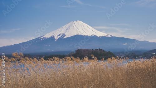 Vue panoramique sur le Mont Fuji depuis un lac Canvas Print