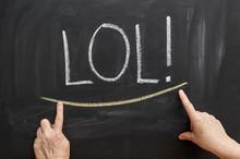 """Inscription """"lol!"""" On A Chalkboard"""
