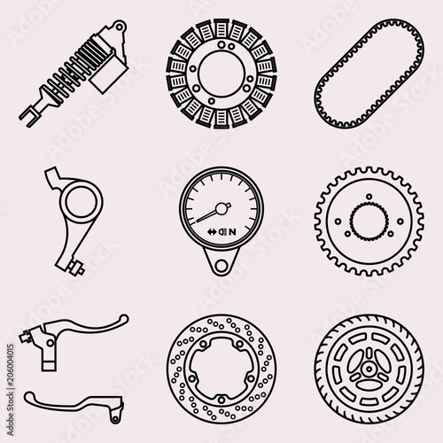 Set Of Various Types Of Motorcycle Parts Vector Thin Line Buy