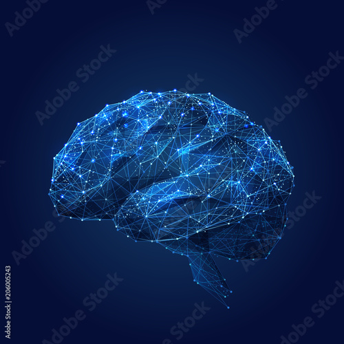 Abstract vector image of a human Brine . Low poly wire frame blue illustration on dark background. Lines and dots. RGB Color mode. Best idea concept. Polygonal art. Wall mural
