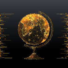 Globe. Low Poly Wireframe Illustration Of Planet Earth In Gold Style. Polygonal Vector Image In RGB Color. World Concept.