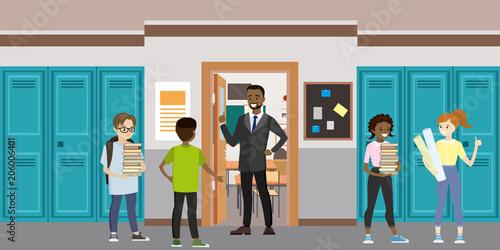 Fotografía  Cartoon School interior and open door in classroom
