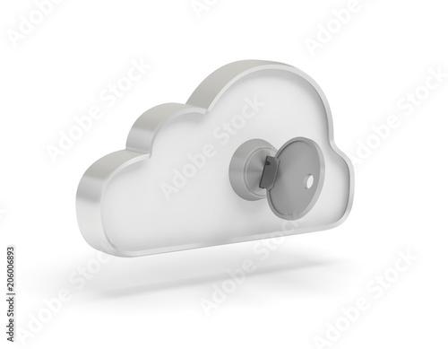 Foto  nuage cloud données clé serrure sécurité