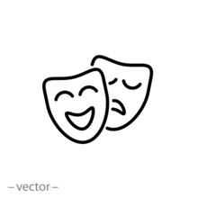 Theatrical Masks Icon Linear S...