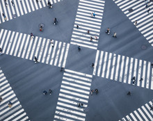 People Walking On Crossing City Street  Crosswalk Top View