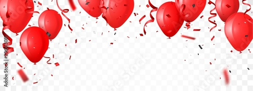 Fototapeta celebration banner with red balloon and confetti