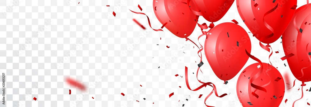 Fototapety, obrazy: celebration banner with red balloon and confetti