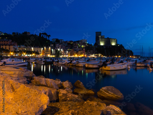 City on the water Village of Lerici in Liguria in the Night