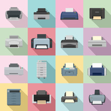 Printer Office Copy Document Icons Set. Flat Illustration Of 16 Printer Office Copy Document Vector Icons For Web