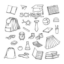 Vector School Elements Clothes Stationery. Various Symbols Education For Design. Black White Set Sketch Contour Illustration. Drawn Art Stylized Letters With Face.