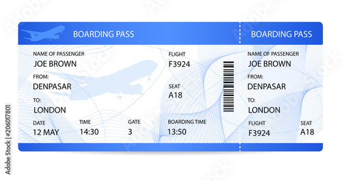 Boarding pass (ticket, traveler check template) with aircraft (airplane or plane) silhouette on guilloche background Fototapet