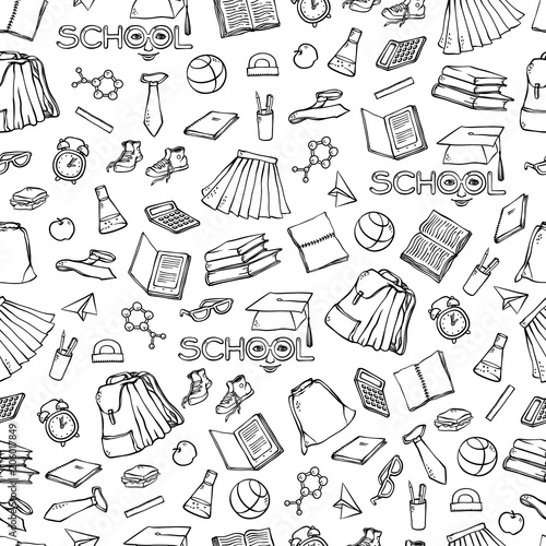 Vector school seamless pattern clothes stationery