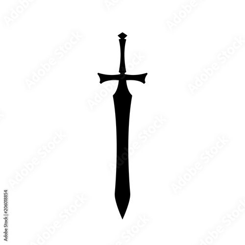 Photo Black silhouettes of medieval knight sword on white background