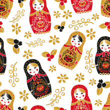 Traditional Russian Doll Seamless Pattern.