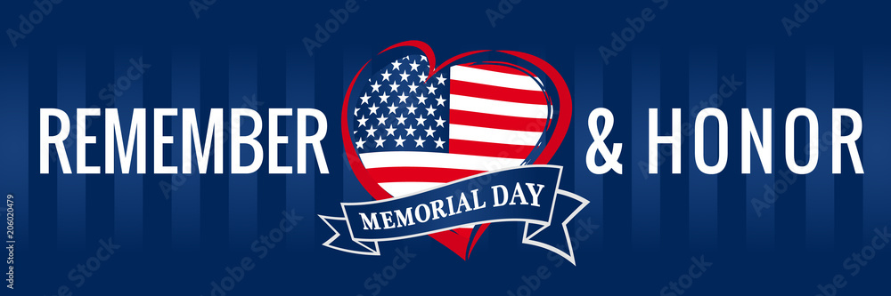 Fototapety, obrazy: Memorial day, remember & honor with USA flag in heart banner blue. Happy Memorial Day vector background in national flag colors