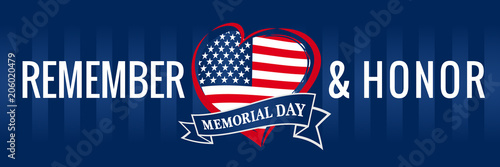 Fotografía  Memorial day, remember & honor with USA flag in heart banner blue