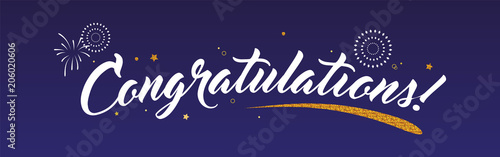 Photo Congrats, Congratulations banner with glitter decoration and fireworks