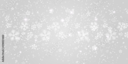 Fototapeta Vector heavy snowfall, snowflakes in different shapes and forms. Many white cold flake elements on transparent background. White snowflakes flying in the air. Snow flakes, snow background. obraz