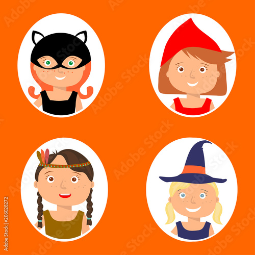 Photo  Vector Illustration of gute little girls portraits in halloween costume