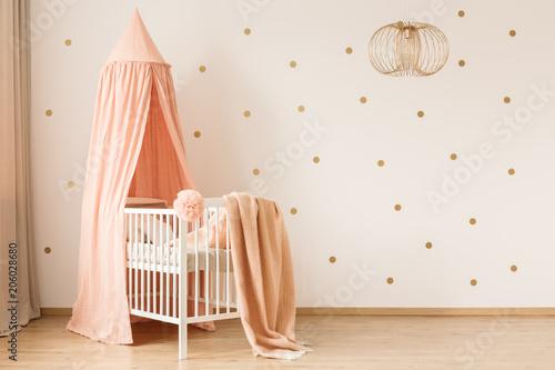 Fotobehang Wintersporten Pastel baby's bedroom interior