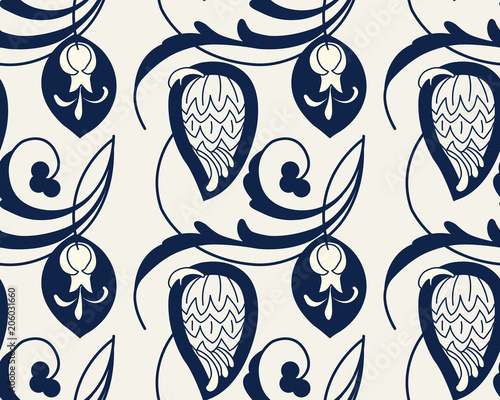 Fotografía  Seamless indigo dye floral ethnic pattern