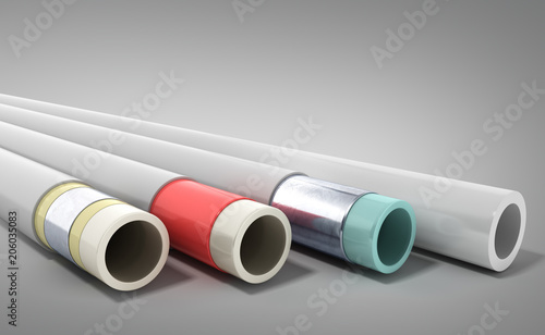 Photo different plastic water pipes in layers 3d render on grey