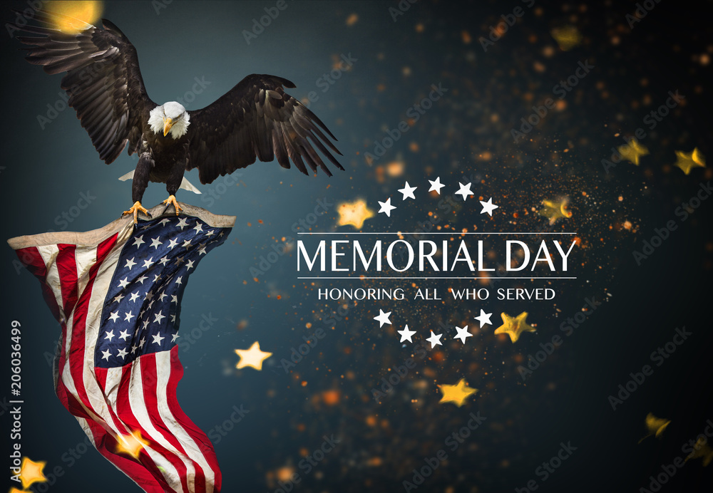 Fototapety, obrazy: American flag with the text Memorial day.