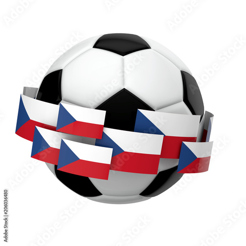 Soccer football with Czech Republic flag against a plain white background Poster