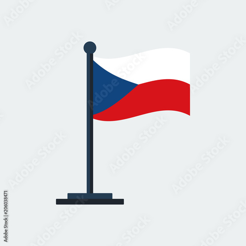 Photo  Flag Of Czech-Republic.Flag Stand. Vector Illustration