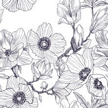 Seamless Pattern Of Magnolia And Anemones Blossom Branch Isolated On White. Vintage Botanical Hand Drawn Illustration. Spring Flowers . Vector Design