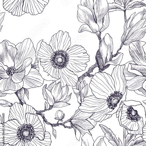 Seamless pattern of magnolia and anemones blossom branch isolated on white Wallpaper Mural