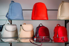 Women's Colorful Handbags Are Sold In The Store On The Counter