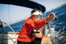 Attractive Strong Woman Sailin...
