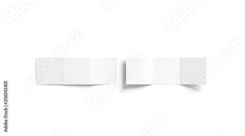 blank white trifold booklet mock up top view 3d rendering plain z