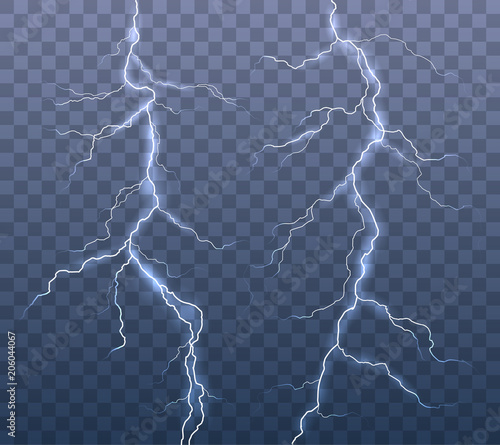Valokuva  Vector realistic set of lightning effects isolated on transparent background