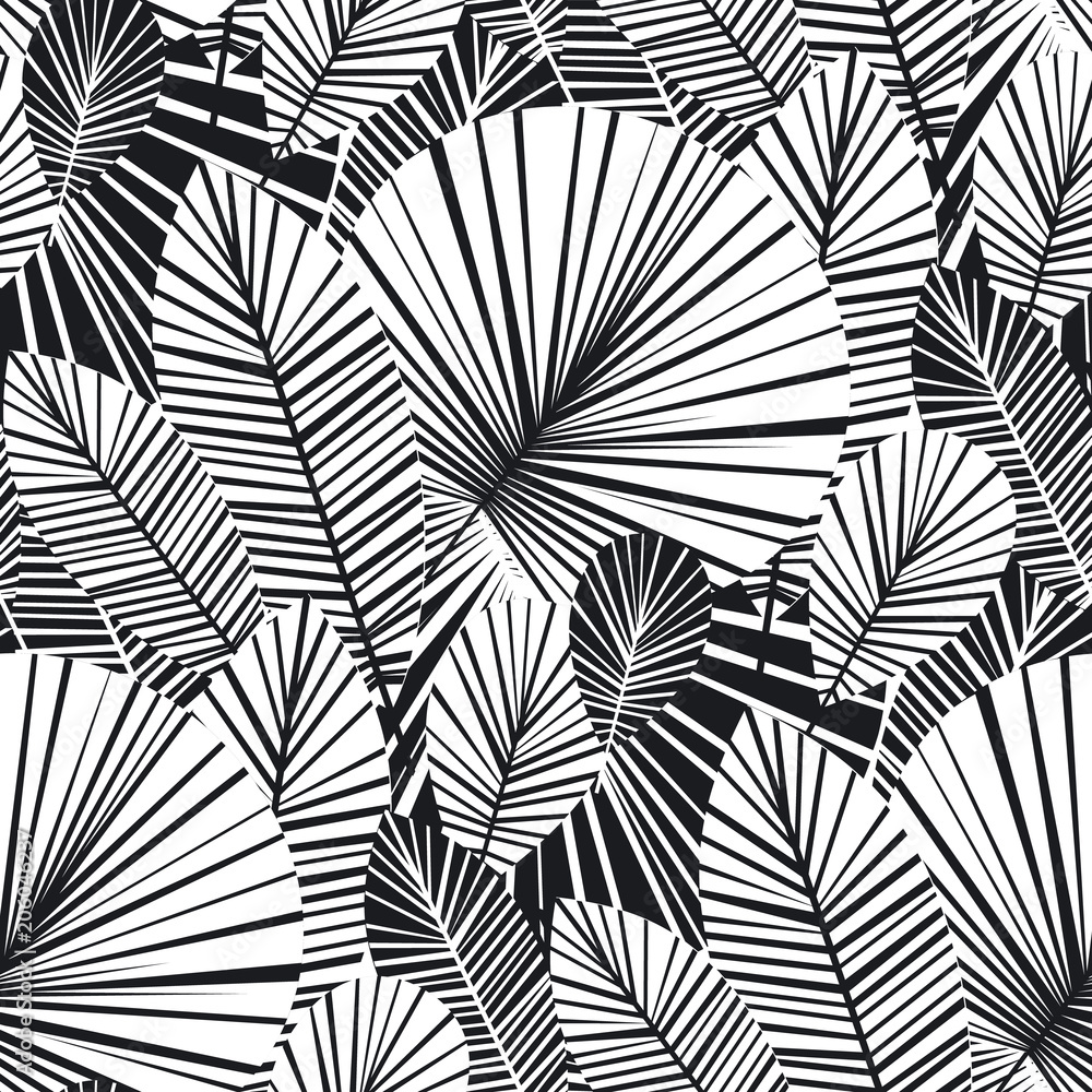 Fototapeta Tropical palm leaves seamless pattern